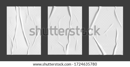 Glued paper set with wet transparent wrinkled effect on gray background. White wet paper poster template set with crumpled texture. Realistic vector posters mockup. #1724635780