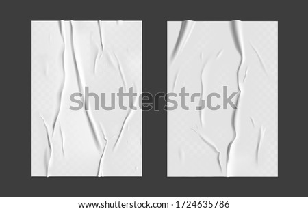 Glued paper set with wet transparent wrinkled effect on gray background. White wet paper poster template set with crumpled texture. Realistic vector posters mockup #1724635786