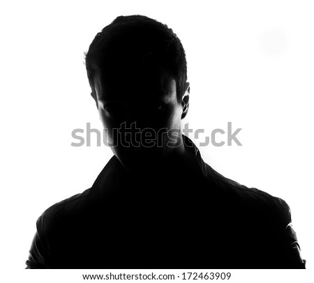 Male silhouette isolated on white