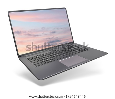 Modern laptop on white background. This file is cleaned, retouched and contains clipping paths. Royalty-Free Stock Photo #1724649445