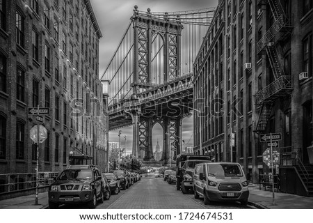 October 28th, 2016 - New York - USA, a glimpse of the Manhattan bridge seen from Washington Street, Brooklyn #1724674531