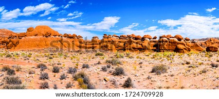 Red rock canyon desert panorama. Sandstones in red rock canyon desert panoramic landscape. Red rock canyon desert panoramic landscape #1724709928