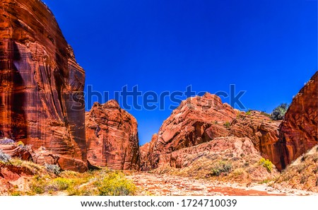 Red rock canyon pass landscape. Pass in red rock canyon. Red rock canyon scene #1724710039