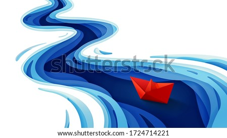 The journey of the origami red paper boat on winding blue river, Paper art and digital craft style, Vector illustration Royalty-Free Stock Photo #1724714221