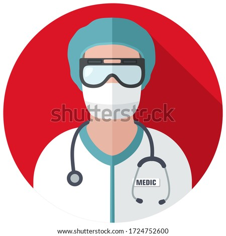 vector medical icon doctor. Image Doctor in mask and with stethoscope. Avatar Medic Illustration in a flat style.