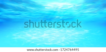 Sandy tropical beach. Watering place. Swimming pool under water. Vector illustration. #1724764495