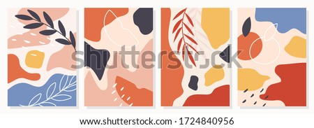 Set of posters with elements of fruits, plants and abstract shapes, modern graphic design. Perfect for social media, poster, cover, invitation, brochure. Vector #1724840956