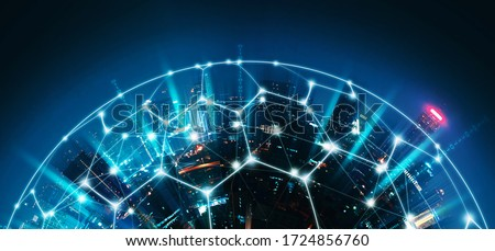Smart network and Connection technology concept with Bangkok city background at sunset in Thailand, Panorama view