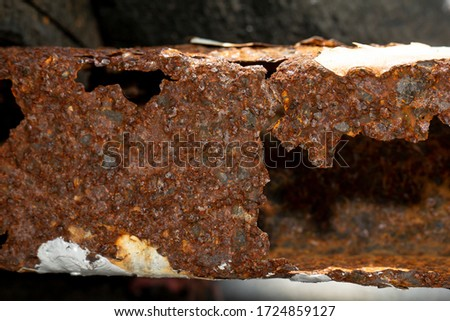 Rust and corrosion in the weld.Corrosion of metal.Rust of metals.Corrosive Rust on old iron.Use as illustration for presentation. #1724859127