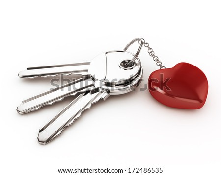 3d Keys with Ring Heart - isolated