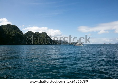 sea, mountains and nature landscape in Philippine islands from a boat #1724865799