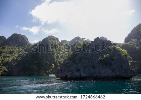 sea, mountains and nature landscape in Philippine islands from a boat #1724866462