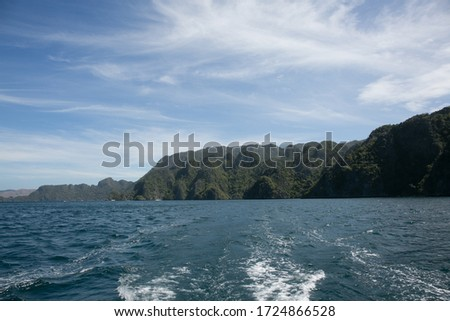 sea, mountains and nature landscape in Philippine islands from a boat #1724866528