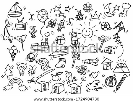 Vector illustration of Doodle cute for kid, Hand drawn set of cute doodles for decoration on white background,Funny Doodle Hand Drawn,Page for coloring. #1724904730