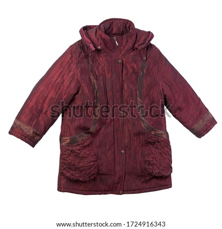 female dark red coat with a hood Isolated on a white background. autumn women's coat not wet from the rain top view #1724916343