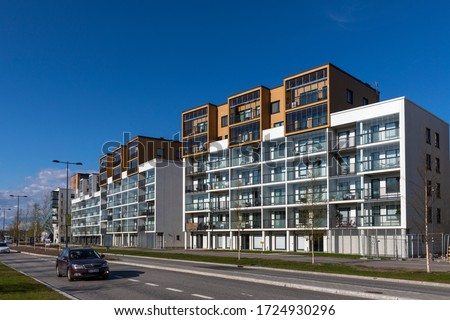 Espoo, Finland - may 5th 2020: Modern residential buildings are built close to subway stations in Espoo to maximise the use of public transportation. #1724930296