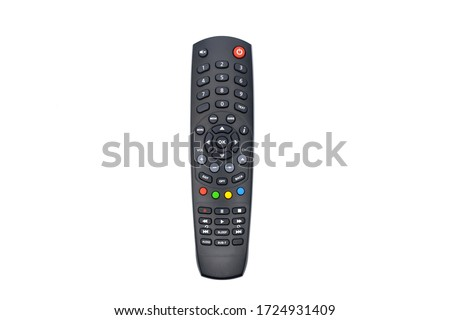 Black remote control for tv on a white background #1724931409