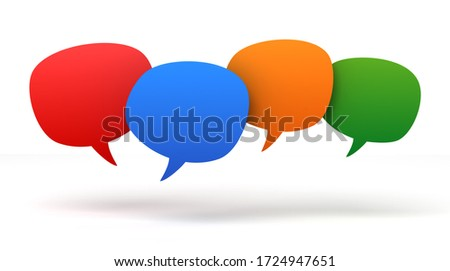 empty speech bubbles 3d concept illustration isolated on white background
