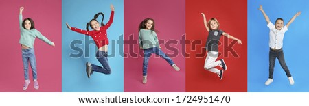 Collage of emotional children jumping on different color backgrounds. Banner design #1724951470