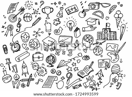 Vector illustration of Doodle cute for kid, Hand drawn set of cute doodles for decoration on white background,Funny Doodle Hand Drawn,Page for coloring. #1724993599