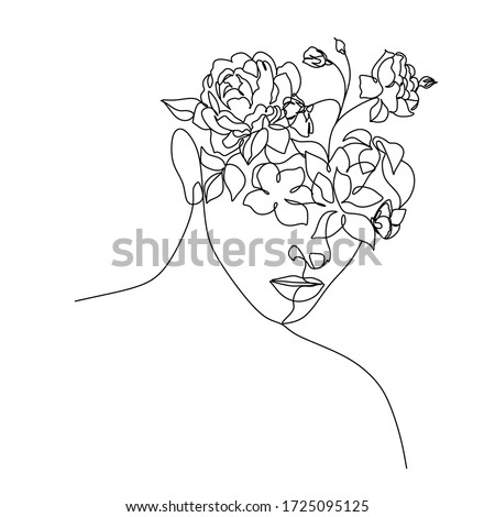 Abstract face with flowers by line art vector drawing. Portrait minimalistic style.  Botanical print. Nature symbol of cosmetics. Flower head. Fashion print. Beaty salon logo.  #1725095125