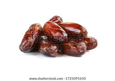 Pile of tasty dry dates isolated on white background. Arabic food Royalty-Free Stock Photo #1725095650