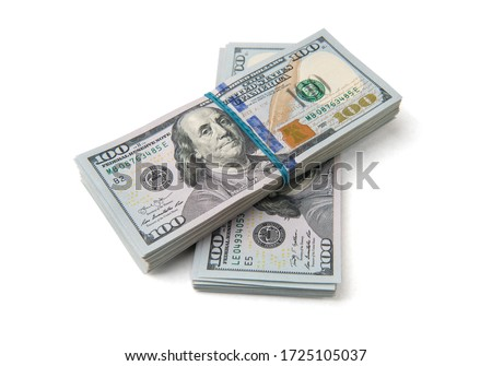 Stack of one hundred dollar bills close-up. Royalty-Free Stock Photo #1725105037