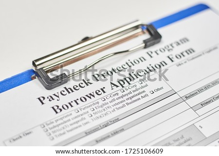 Application form. Paycheck Protection Program Borrower Application Form Royalty-Free Stock Photo #1725106609