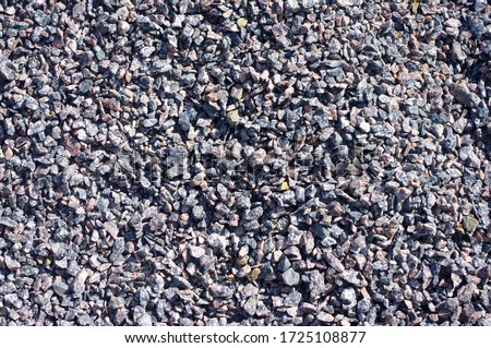 Natural Granite, Chippings, Macadam, Rubble or Crushed Stones Background. Broken Stone or Crushed Rock Texture. #1725108877