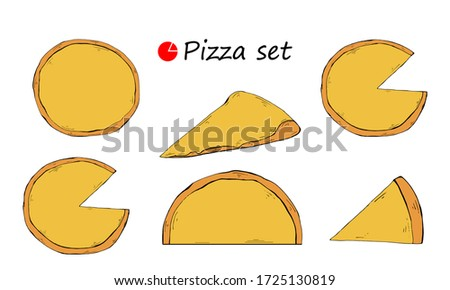 Pizza template set illustration Italian food with in pizzeria or pizza house illustration set of baked pie in Italy isolated on white background