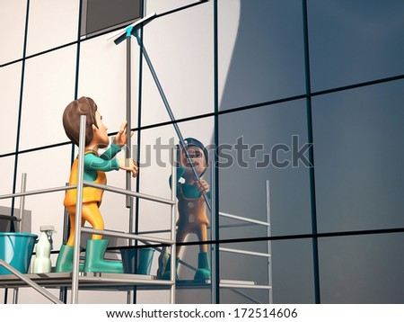 3d glazier on the scaffolding  #172514606