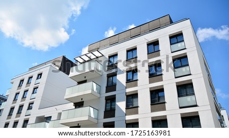 Modern European residential apartment buildings quarter. Abstract architecture, fragment of modern urban geometry. #1725163981