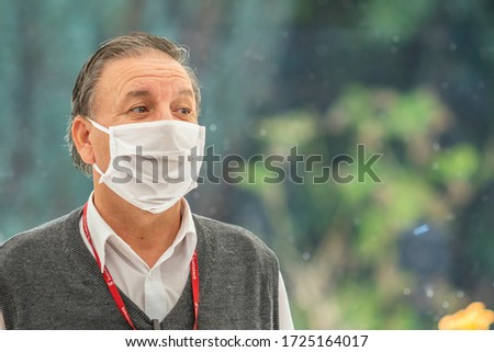 City: Santiago Country: Chile 2nd May 2020 Real people face portraits. People worried while walking in Providencia streets with mask protection because of coronavirus disease infection COVID-19 #1725164017