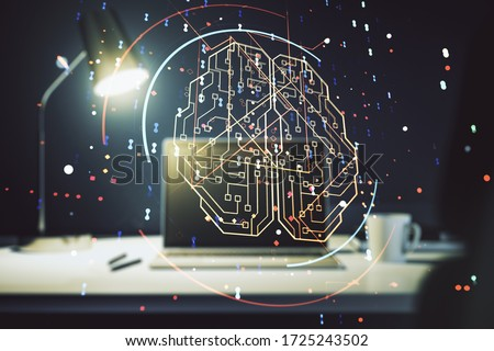 Creative artificial Intelligence concept with human brain hologram on modern laptop background. Multiexposure #1725243502