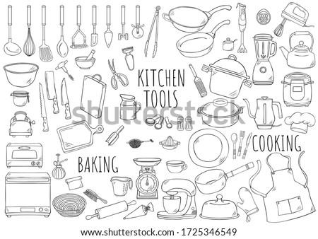 Hand drawn illustration kitchen tools.  Royalty-Free Stock Photo #1725346549
