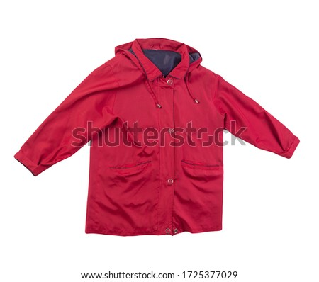 female  red coat with a hood Isolated on a white background. autumn women's coat not wet from the rain top view #1725377029