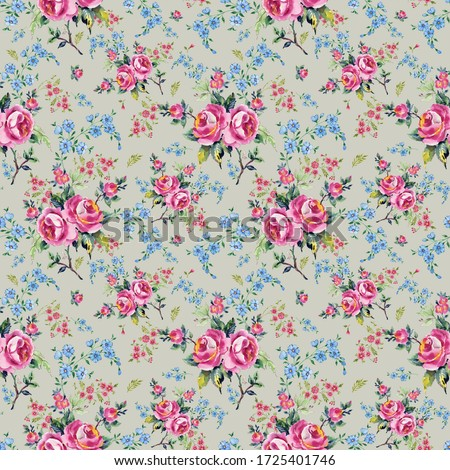 Bright seamless pattern flowers drawn on paper paints.Stylish print for textile design and decoration.  #1725401746