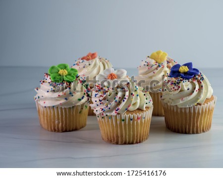 A  closeup picture of colorful cupcakes decorated with flowers against a white background - perfect for patisserie  shops