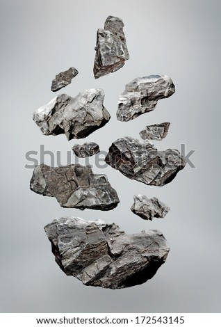 Floating Falling rocks  Royalty-Free Stock Photo #172543145