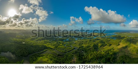 Panoramic picture of the south est of Siargao island, with a river, catangnan located on the right side, rice fields, coconut trees, the sun on the top left side, the sea and the sky in the background #1725438964