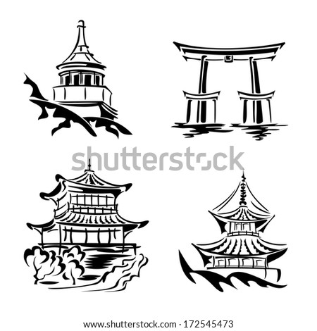se black and white images asian temples and architecture