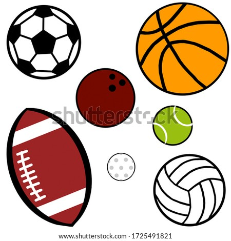 A set of balls for football, basketball, rugby, tennis, golf, volleyball, golf and bowling isolated on the white background