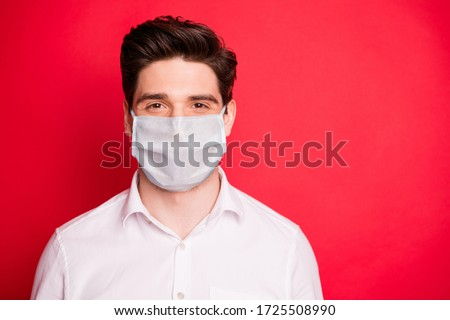 Close up photo of charming person stay home covid-19 quarantine wearing white medical fabric mask shirt isolated over red background #1725508990