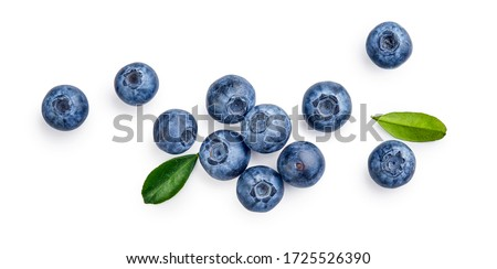 Fresh blueberries with bluberry leaves isolated on white background. Top vew. Royalty-Free Stock Photo #1725526390