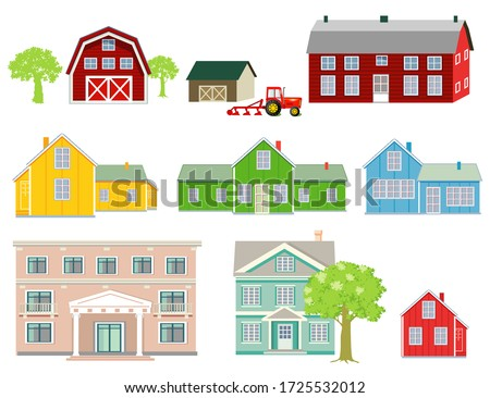various wooden houses, farm houses, country houses, family houses, #1725532012