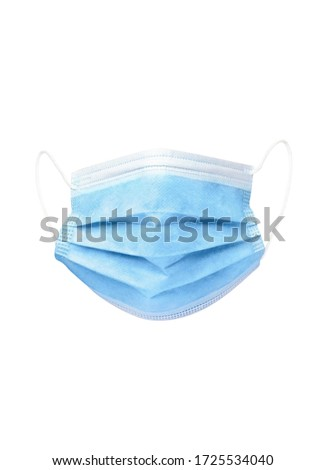 Blue Medical Disposable breath filter Face Mask with covid-19 with earloop. Covid-19 - Wuhan Novel Coronavirus pneumonia COVID-19. Surgical protective antiviral mask. Medical respiratory bandage face. #1725534040