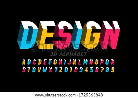 3D style modern font, alphabet letters and numbers vector illustration Royalty-Free Stock Photo #1725563848