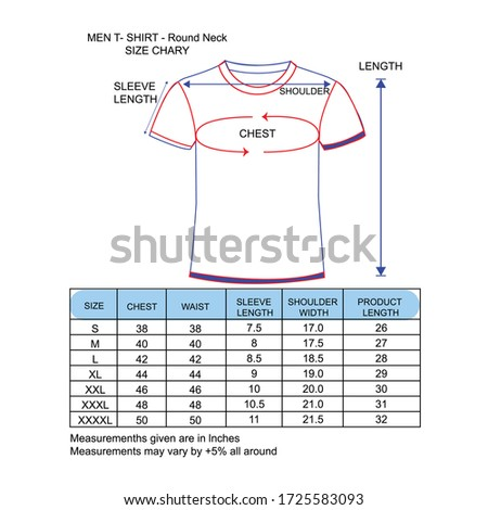 Man T- Shirt round neck design and size chart or Simple Color
