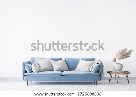 Minimal living room design, blue and beige furniture on white background, home decor with trendy accessories, 3D render, 3D illustration