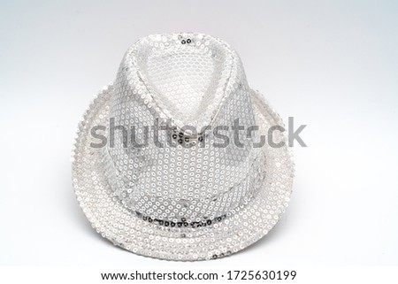 Theme party hats. Colorful shiny stylish costume parts. Black official hat. Sides up - gentleman hats. Explorer hat - for jungle or club. white clean background. Photo shoot pictures. Shiney hats